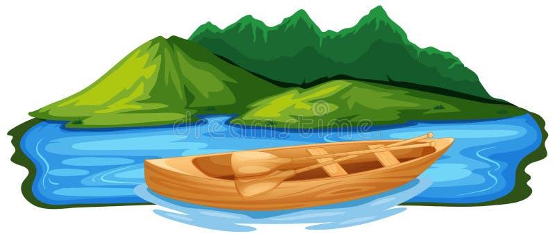 Barco de pá de madeira na natureza ilustração royalty free