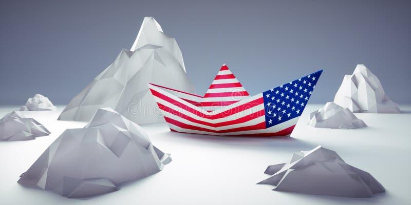 Barco de papel americano no perigo ilustração do vetor