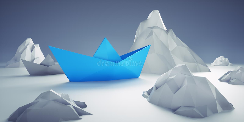 Barco de papel azul no perigo ilustração do vetor