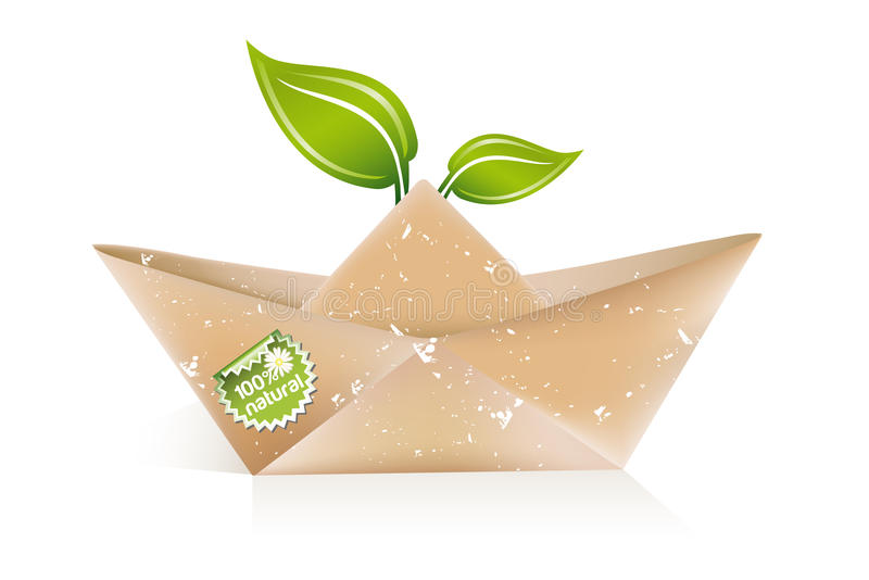 Barco de papel del origami ilustración del vector