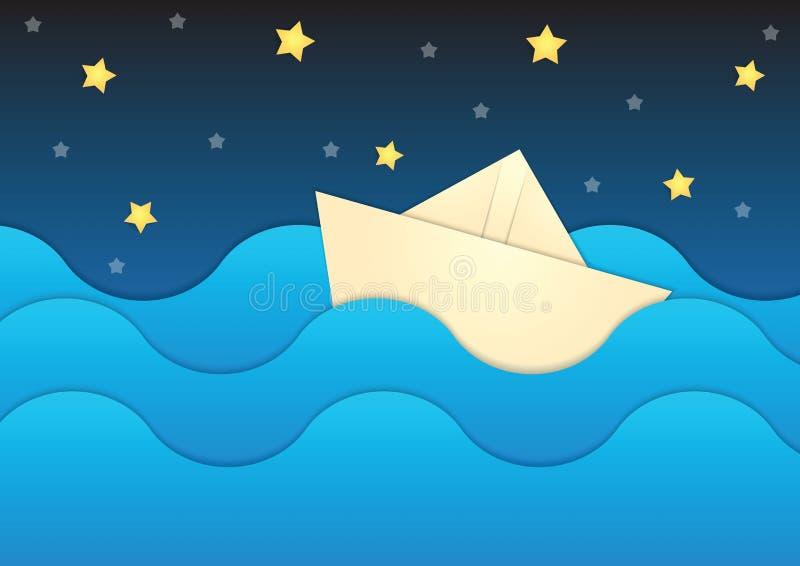 Barco de papel en el fondo de papel del mar y del cielo nocturno ilustración del vector
