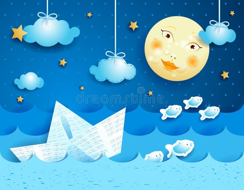 Barco de papel, en la noche libre illustration