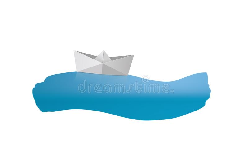 Barco de papel de la nave de la carpeta en el mar ilustración del vector