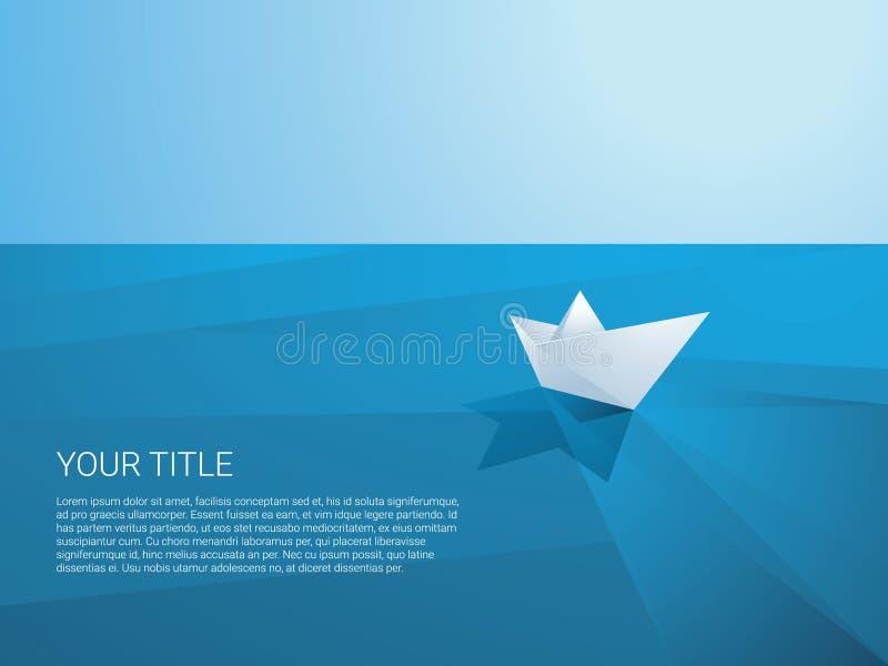 Barco de papel polivinílico bajo que navega lejos en el mar poligonal ilustración del vector