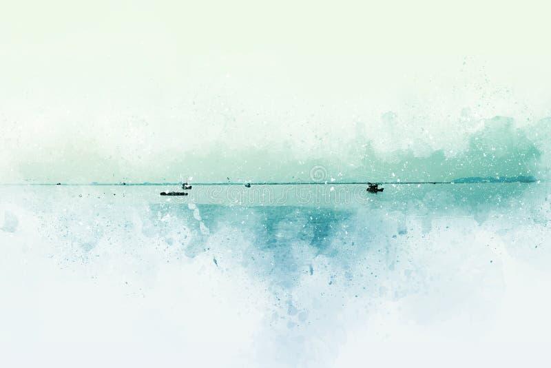 Barco de pesca abstracto en el mar en la pintura del ejemplo de la acuarela stock de ilustración