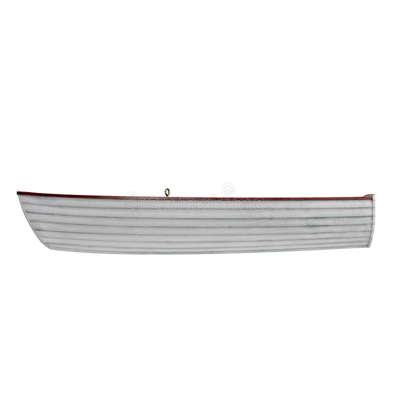 Barco de pesca aislado en blanco Vista lateral ilustración 3D imagenes de archivo