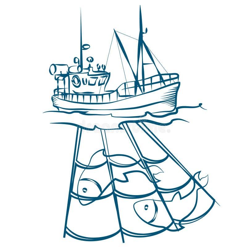Barco de pesca com redes ilustração royalty free