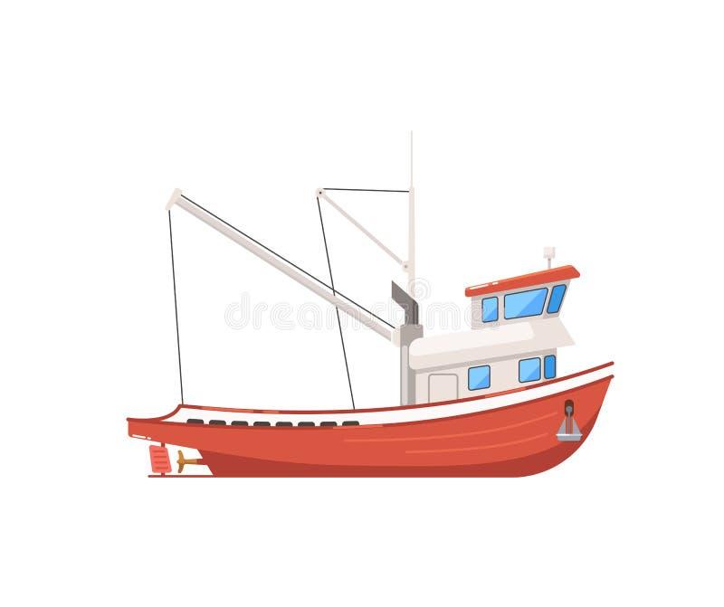 Barco de pesca del vintage aislado en el icono blanco ilustración del vector