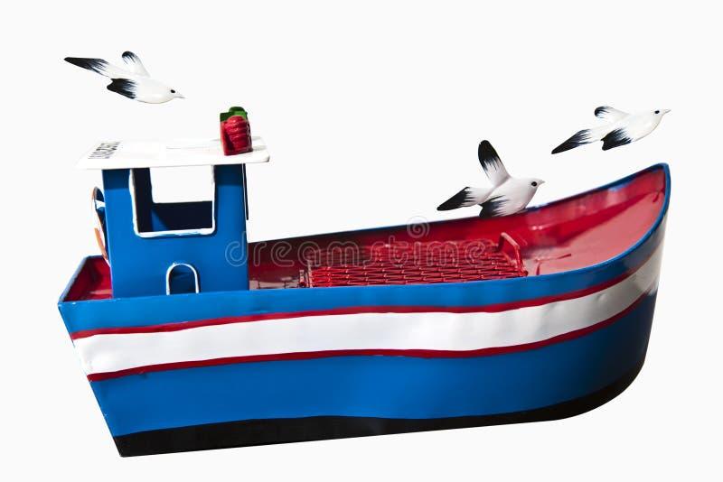 Barco de pesca do brinquedo fotografia de stock
