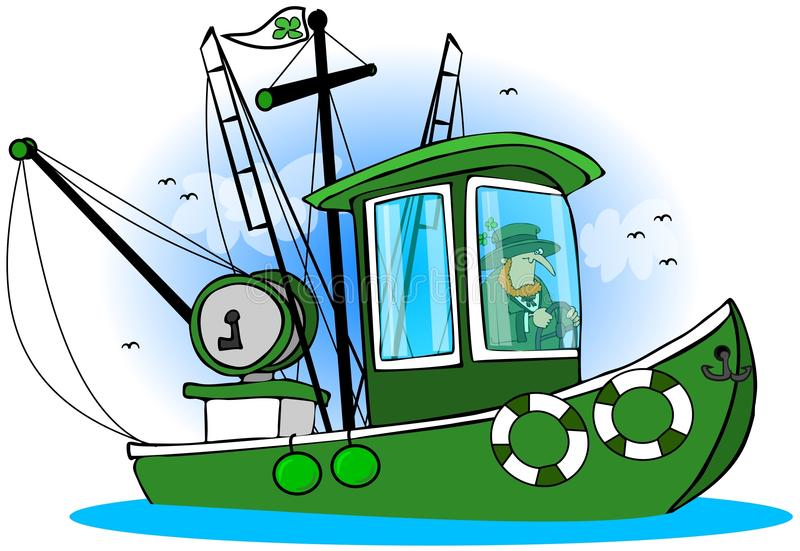 Barco de pesca do Leprechaun ilustração do vetor