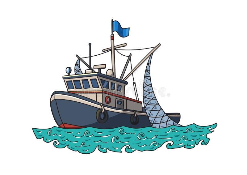 Barco De Pesca En El Mar Ilustración Del Vector Aislada En El Fondo ...