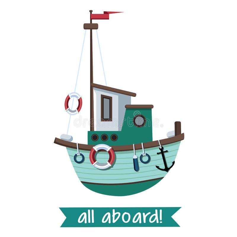 Barco de pesca en estilo plano Ilustraci?n del vector aislada en el fondo blanco stock de ilustración