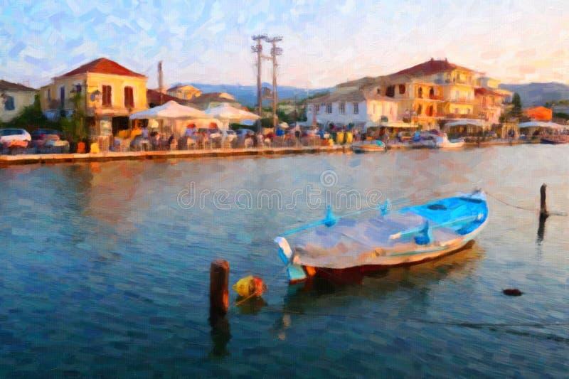 Barco de pesca grego tradicional, Lefkada, Grécia, estilo da pintura a óleo fotos de stock royalty free