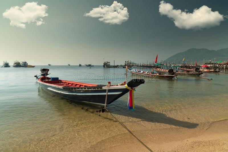Barco de pesca, Koh Tao Island foto de stock