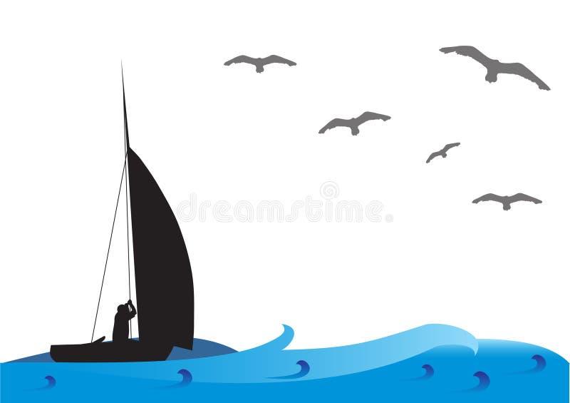 Barco de pesca no mar ilustração royalty free