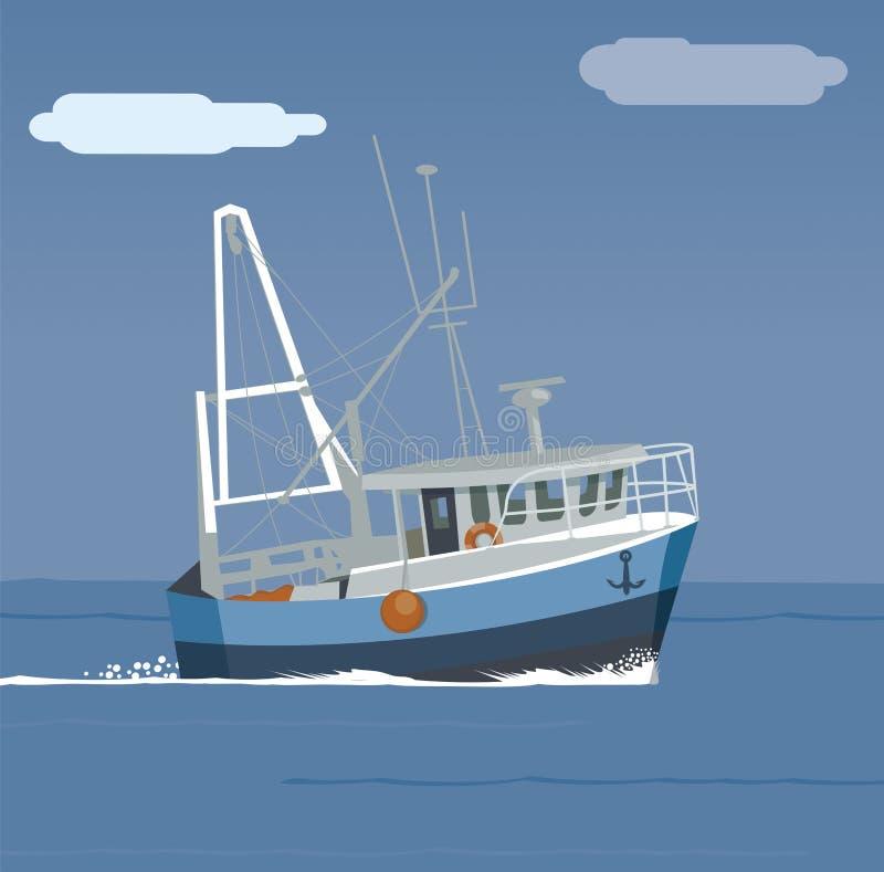Barco de pesca no mar, barco nas ondas ilustração stock