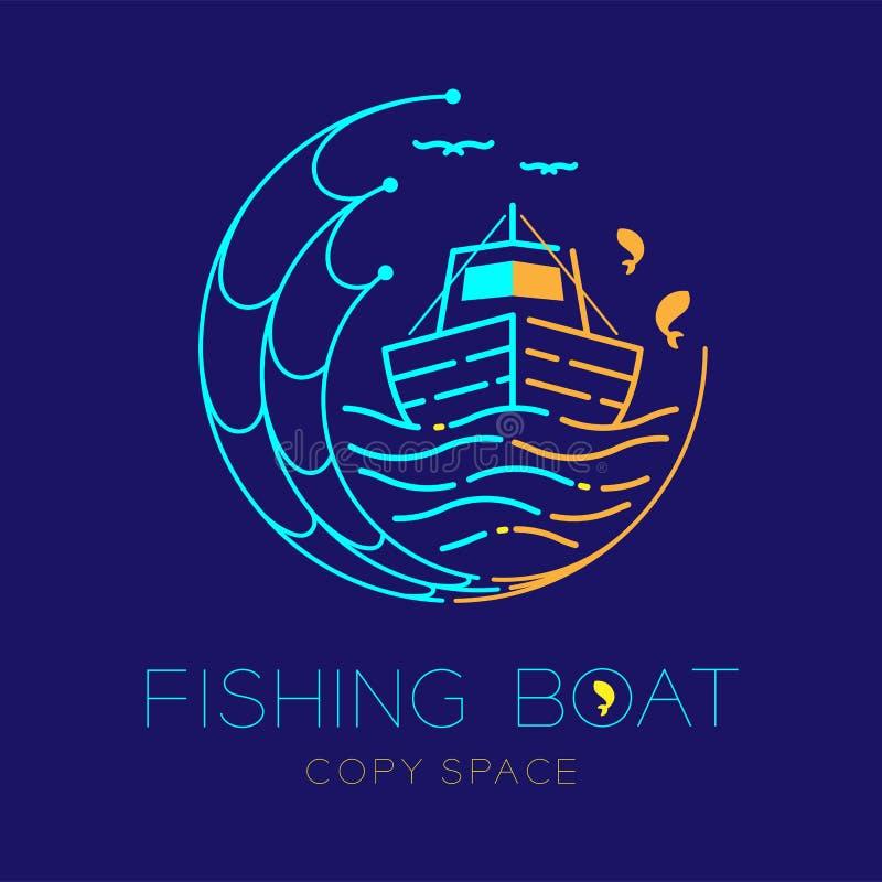 Barco de pesca, peixes, gaivota, onda e de rede de pesca linha ajustada ilustração do traço do curso do esboço do ícone do logoti ilustração stock