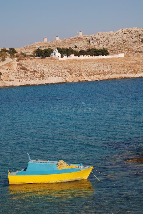 Barco de pesca pequeno, Halki foto de stock royalty free