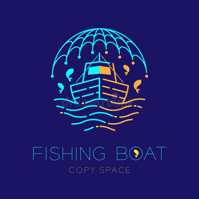 Barco de pesca, pescados, gaviota, onda y línea determinada ejemplo de la rociada del movimiento del esquema del icono del logoti stock de ilustración