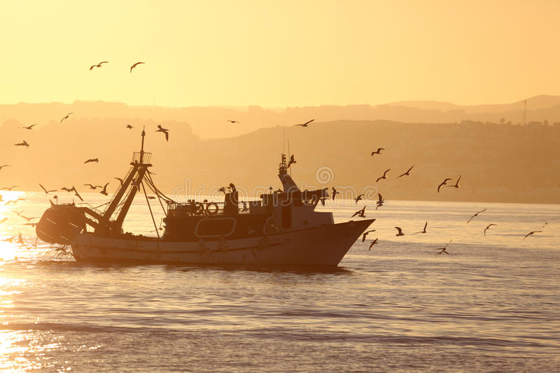 Barco de pesca que volta em casa foto de stock