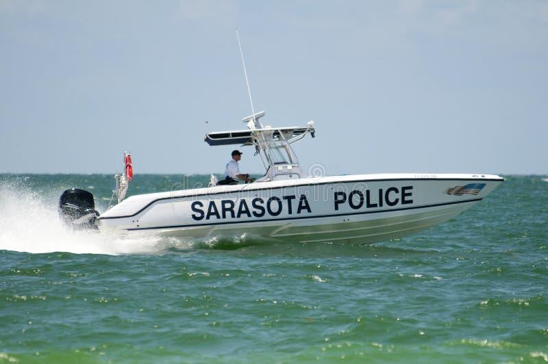 Barco de polícia da praia imagens de stock