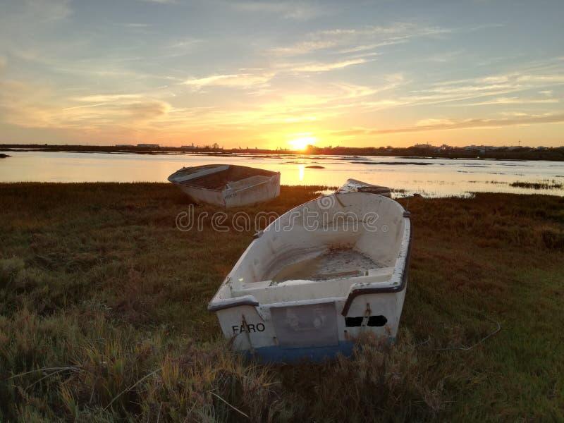 Barco de reclinación de Ria Formosa Faro imagen de archivo libre de regalías