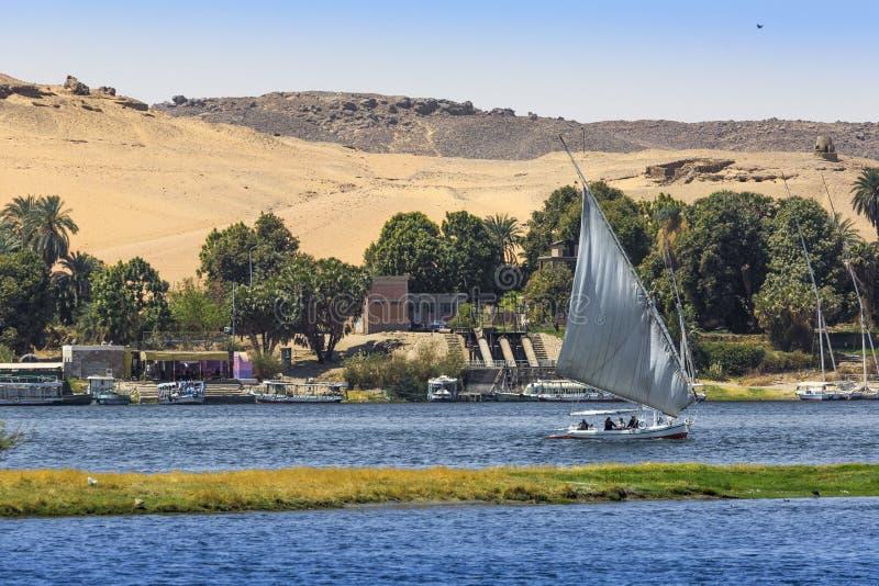 Barco de rio de Felucca no Nilo, com o Sahara atrás em Aswa fotografia de stock