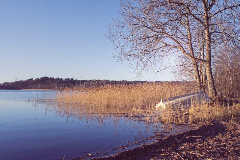 Barco de rowing abandonado por el lago foto de archivo
