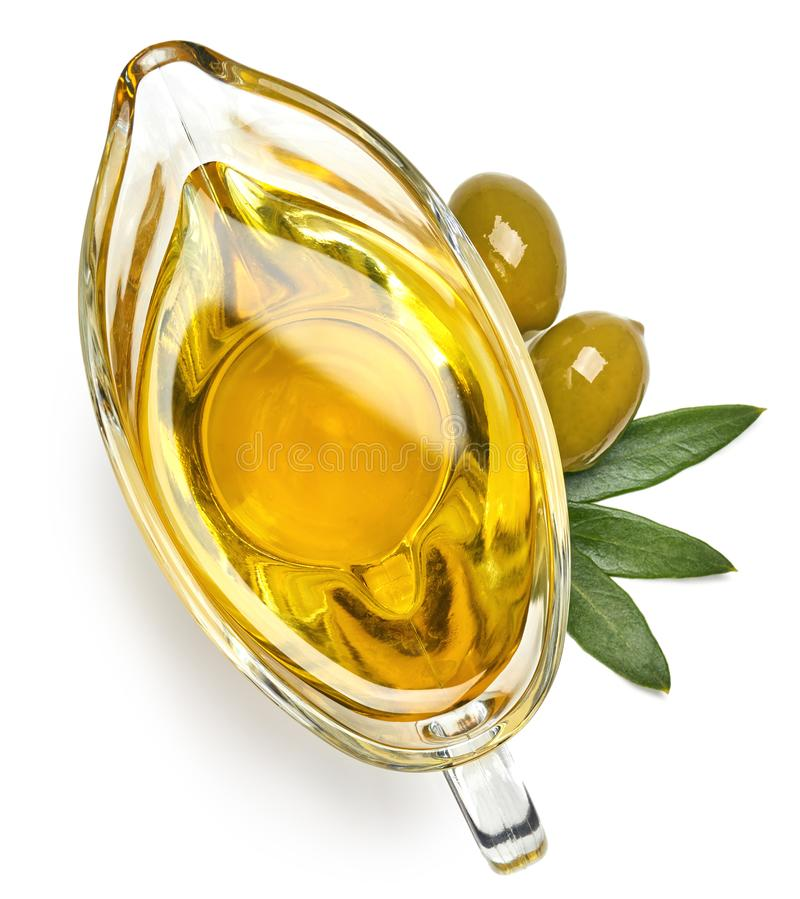 Barco de salsa del aceite de oliva virginal adicional imagen de archivo