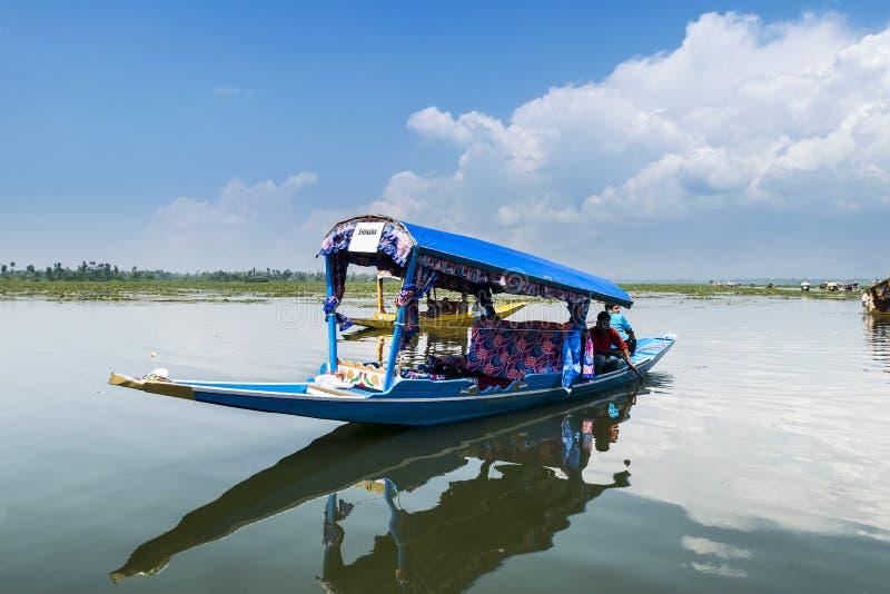 Barco de Shikara em Dal Lake, Srinagar, Kashmir, Índia imagens de stock royalty free