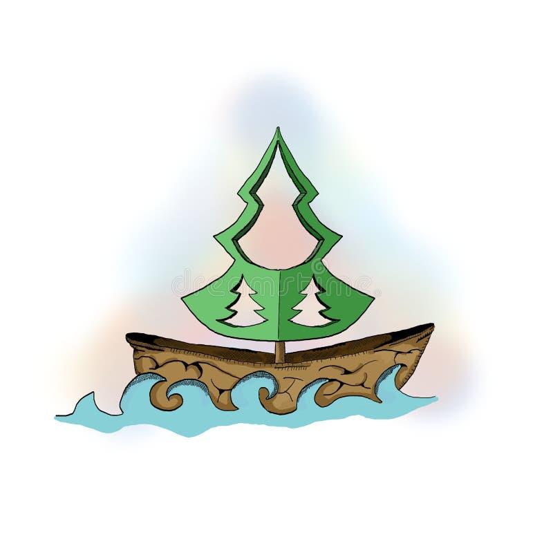 Barco de un cacahuete y de un árbol ilustración del vector