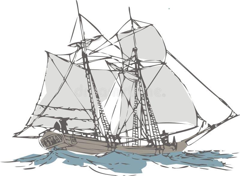 Barco de vela stock de ilustración