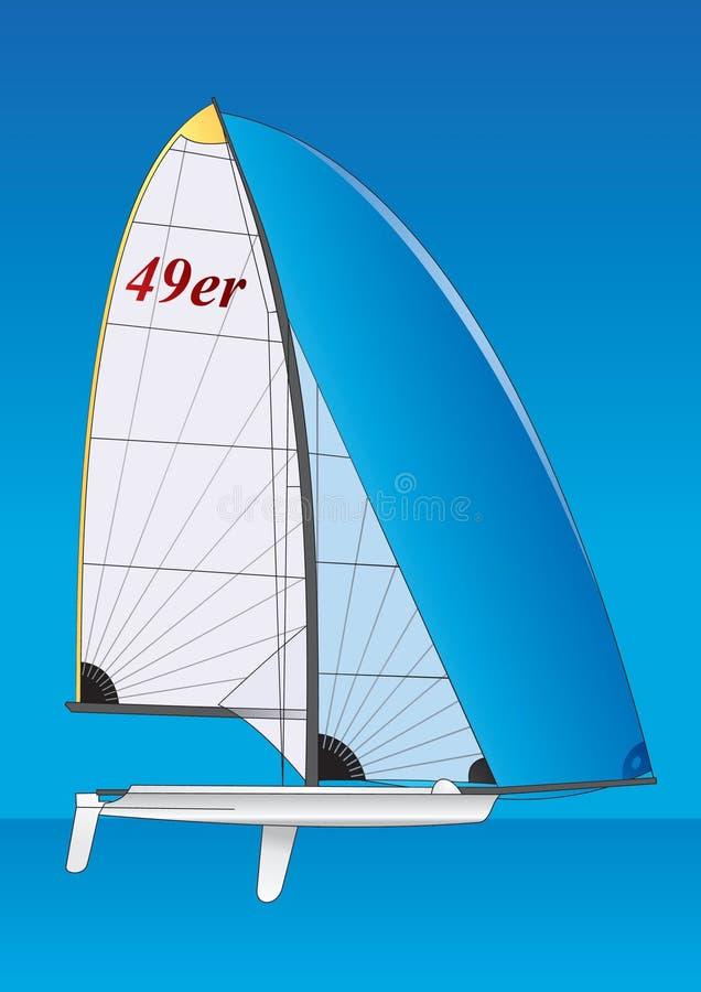 Barco de vela. bote 49er libre illustration