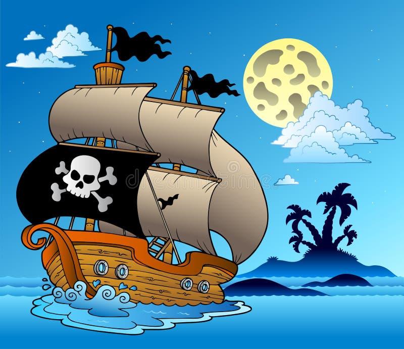 Barco de vela del pirata con la silueta de la isla libre illustration