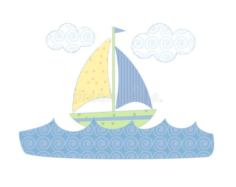 Barco de vela en colores pastel stock de ilustración