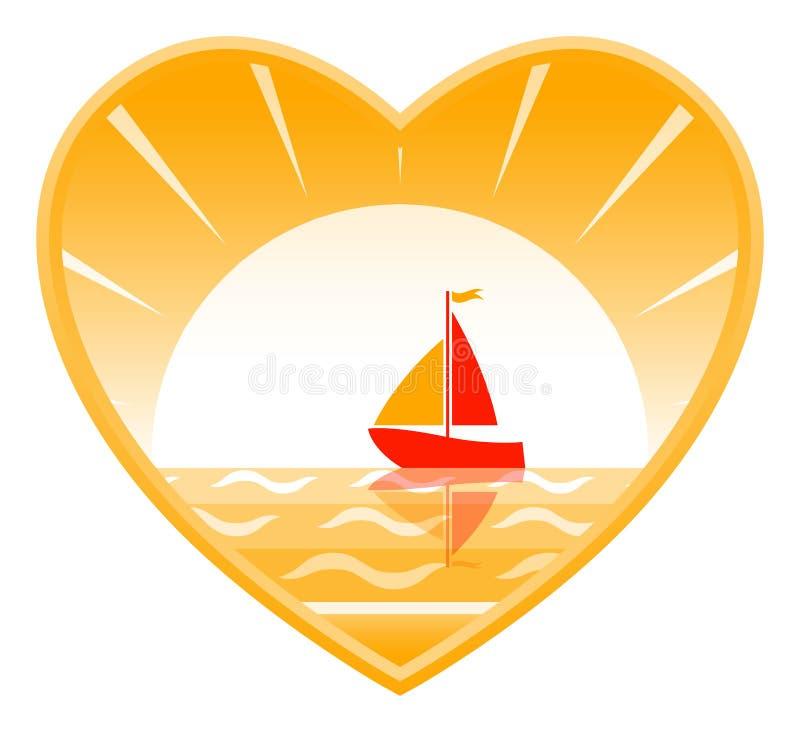 Barco de vela en corazón libre illustration