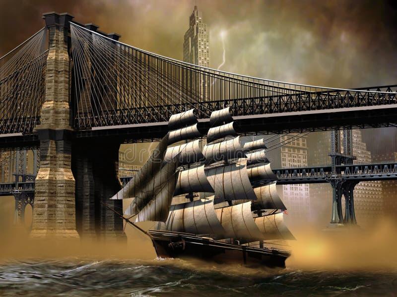 Barco de vela en East River ilustración del vector