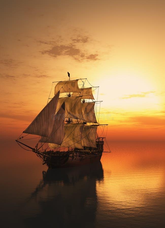 Barco de vela en el mar. ilustración del vector