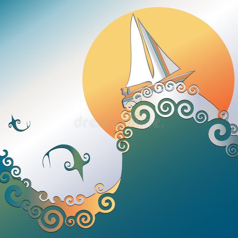Barco de vela en el océano con el salto de los pescados