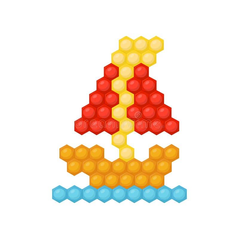 Barco de vela feito do enigma colorido do mosaico das crianças s Jogo para o desenvolvimento da lógica e das habilidades de motor ilustração stock