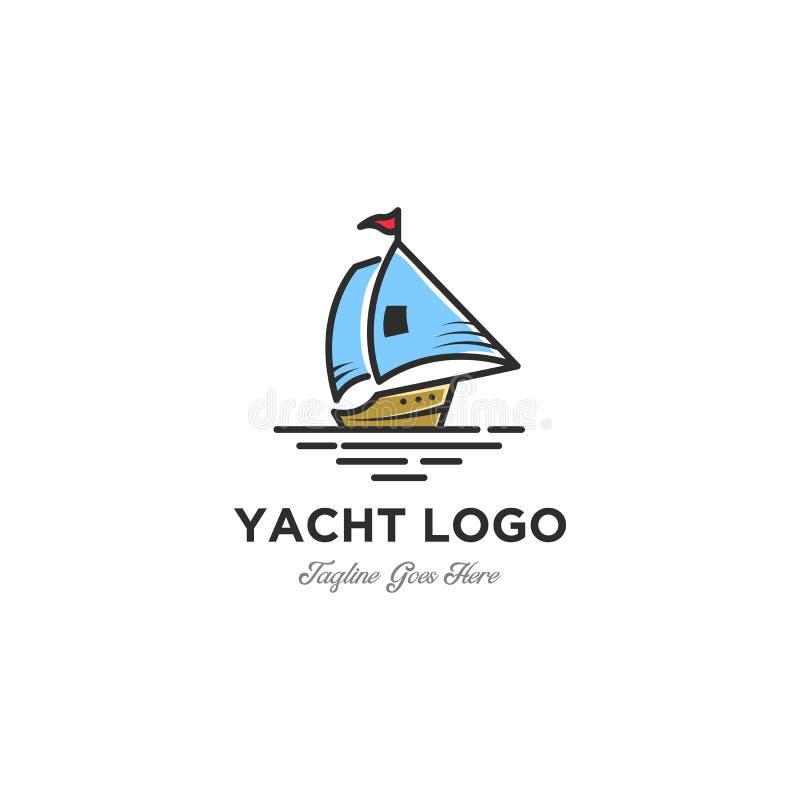 Barco de vela minimalista - ilustração do conceito do molde do logotipo do vetor Sinal do navio novo e jovem ilustração do vetor