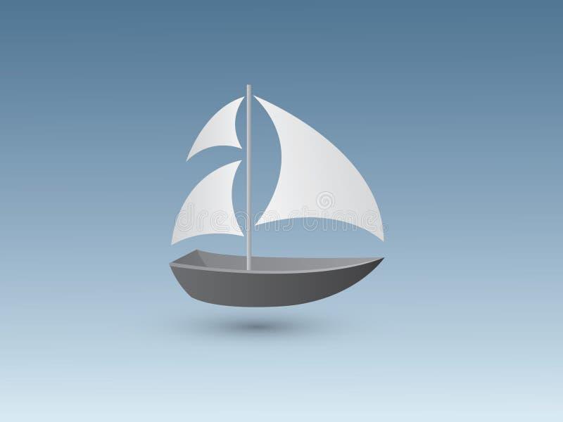 Barco de vela simple del color blanco y negro un pequeño para viajar y pescar en fondo azul stock de ilustración