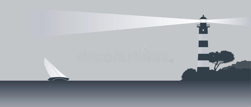 Barco de vela y faro ilustración del vector