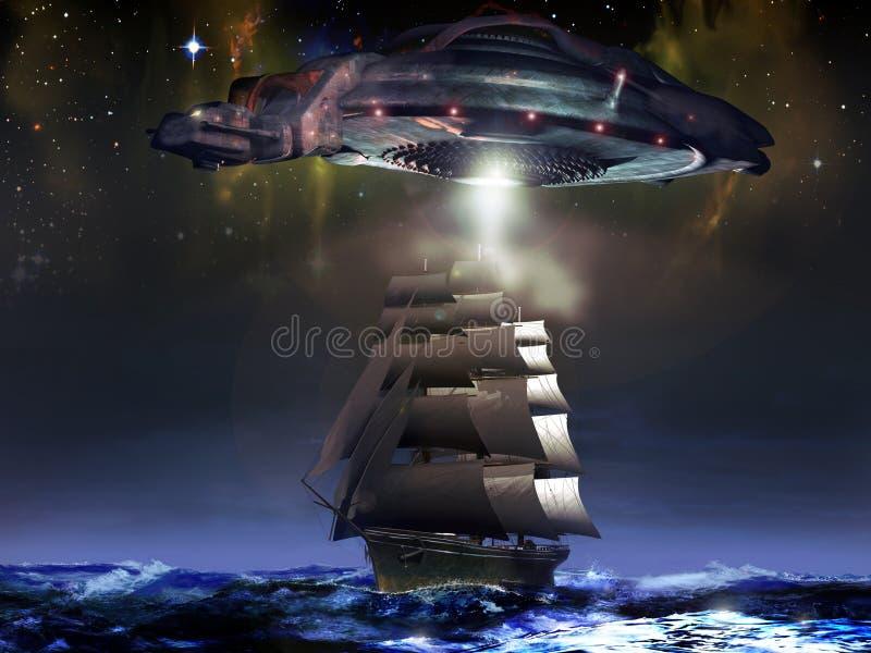 Barco de vela y UFO stock de ilustración