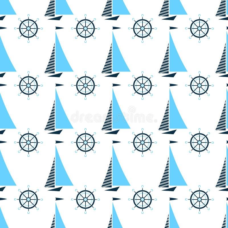 Barco de vela y volante de la nave Modelo inconsútil marina ilustración del vector