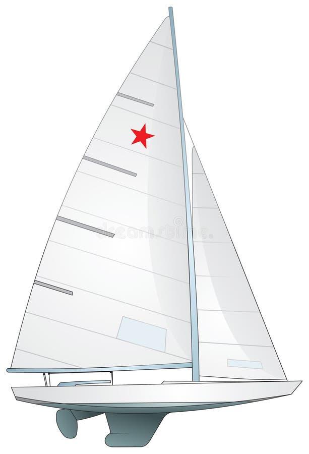 Barco de vela. Yate de la clase de la estrella ilustración del vector
