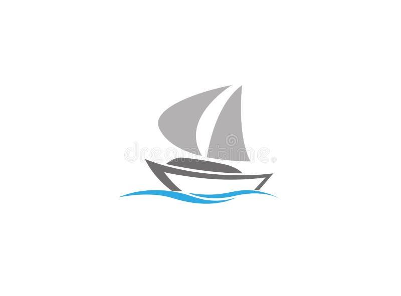 Barco de velas no mar, logotipo da navigação do iate ilustração do vetor