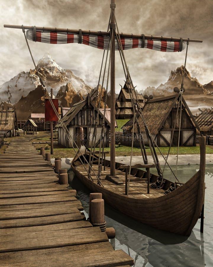 Barco de Viking em uma vila ilustração do vetor