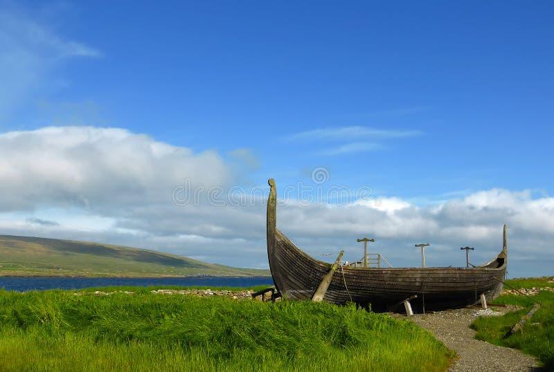 Barco de Viking en Unst imagen de archivo libre de regalías