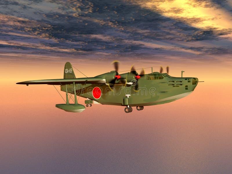 Barco de voo japonês da marinha da segunda guerra mundial ilustração stock
